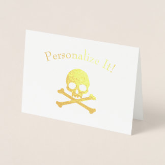 Personalised Gold Foil Skull And Crossbones Foil Card