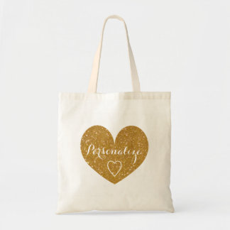 Personalised gold glitter love heart tote bag