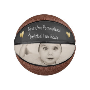 Personalised Gold Heart Detailed Mini Basketball