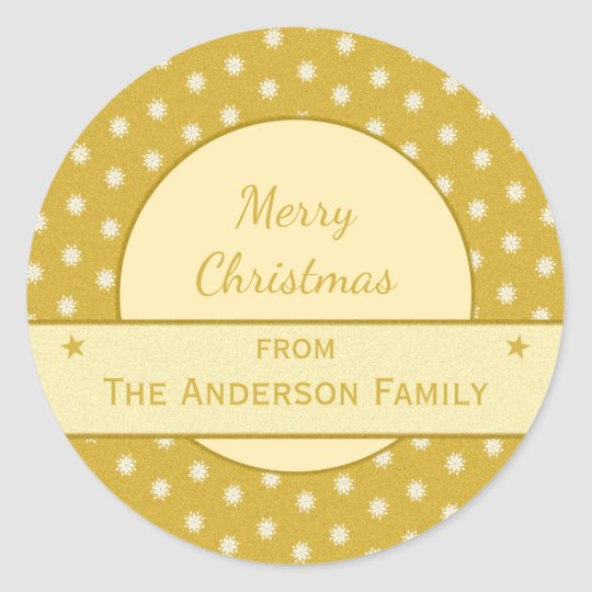 Personalised gold holiday Christmas Classic Round Sticker