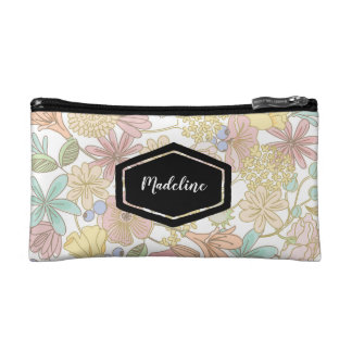 Personalised gold spring floral cosmetics case