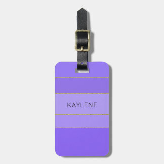 Personalised Gold Trim Violet Stripes Luggage Tag