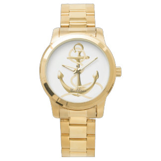 Personalised gold watch Gold anchor Fashion watch