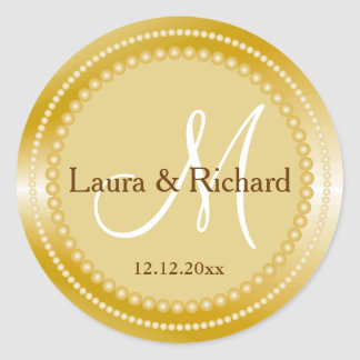 Personalised Gold Wedding Monogram Seals Round Sticker