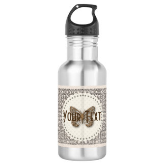 Personalised Golden Butterfly Patterned  Bottle 532 Ml Water Bottle