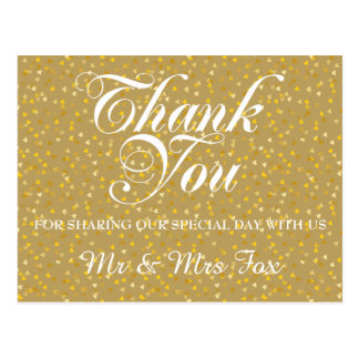 Personalised Golden Hearts Confetti Thank You Postcard