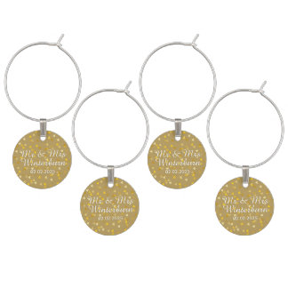 Personalised Golden Hearts Confetti Wine Charm