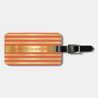 Personalised Golden Peach Stripes Minimalism Luggage Tag