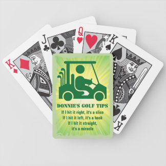 Personalised Golf Tip Golfer Cart Playing Cards