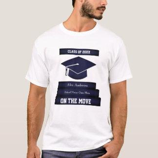 Personalised Graduation Tee 1 Grad Cap Gown Stairs