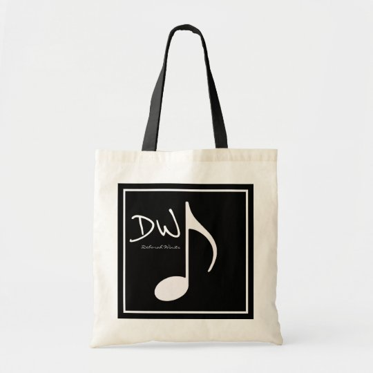 personalised graphic music note on black tote bag