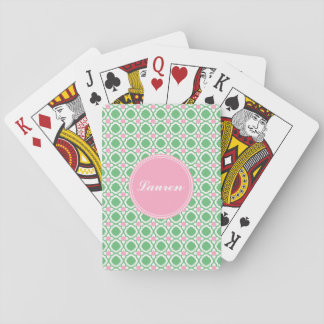 Personalised Green and Pink Playing Cards