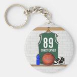 Personalised Green and White Basketball Jersey
