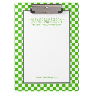 Personalised Green Chequered Clipboard