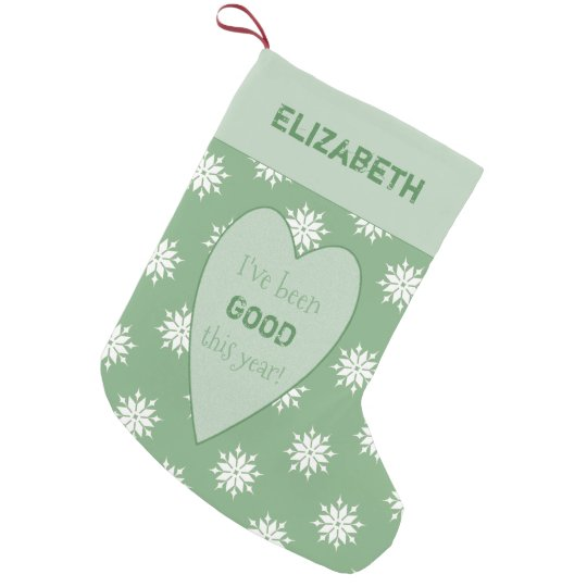 Personalised green Christmas snowflakes Small Christmas Stocking