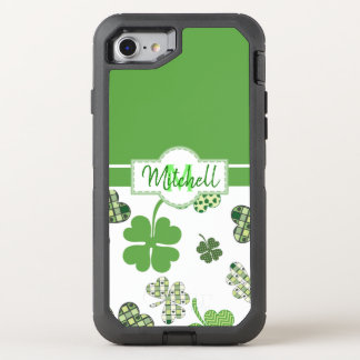 Personalised Green Clover St Patrick's Day OtterBox Defender iPhone 8/7 Case