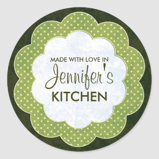 Personalised Green Floral Dot Canning Stickers