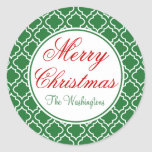 Personalised Green Merry Christmas Gift Stickers