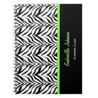 Personalised: Green Trimmed: Zebra Print Notebook