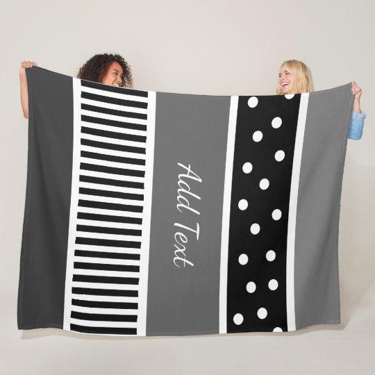 Personalised Grey  Black White Polka Dots Stripes Fleece Blanket