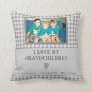 Personalised grey gingham Photo Grandparents Throw Pillow
