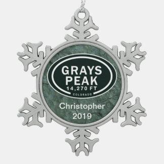 Personalised Greys Peak Colorado Rocky Mountain Snowflake Pewter Christmas Ornament
