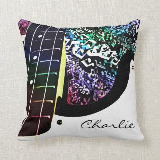 Personalised Guitar Rainbow Music Notes Pillow
