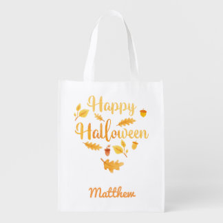 Personalised Halloween Acorns Trick or Treat Sack Reusable Grocery Bag