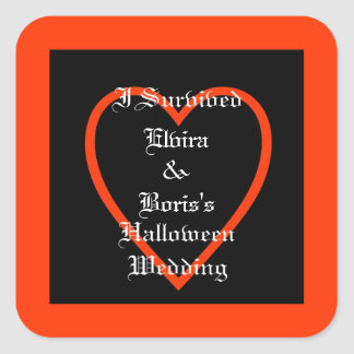 Personalised Halloween Wedding Favour Square Sticker