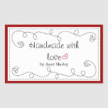 Personalised Handmade With Love Labels Rectangular Sticker