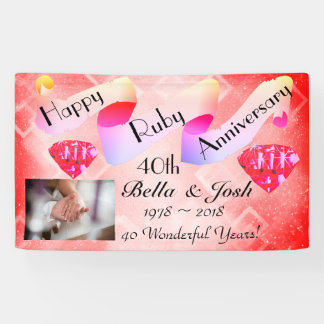 Personalised Happy 40th Wedding Anniversary Banner