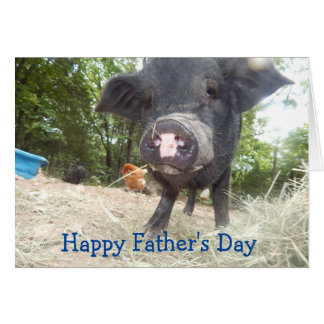 Personalised Happy Father's Day, Mini Pig Card