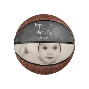 Personalised Happy First Fathers Day Mini Basketball
