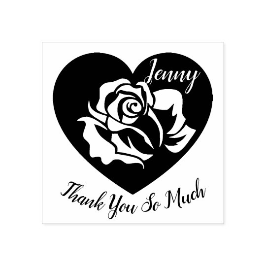 Personalised Heart and Rose Thank You Rubber Stamp