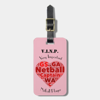 Personalised Heart Design Netball Captain Luggage Tag
