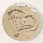 Personalised Heart in the Sand coasters