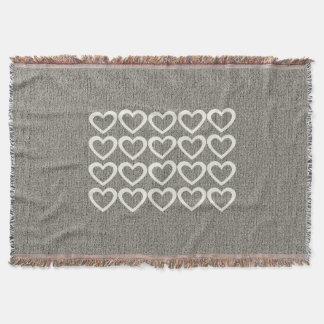 Personalised  Heart Pattern Grey Throw Blanket
