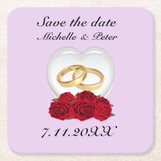 """Personalised Heart Roses Wedding """"Save The Date"""" Square Paper Coaster"""