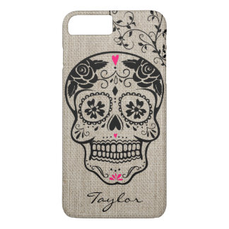 Personalised Hipster Sugar Skull iPhone 7 Plus Case