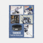 Personalised Hockey 5 Photo Collage Name Team # Fleece Blanket