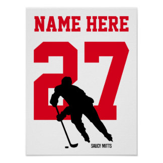 Personalised Hockey Player Number Red Poster