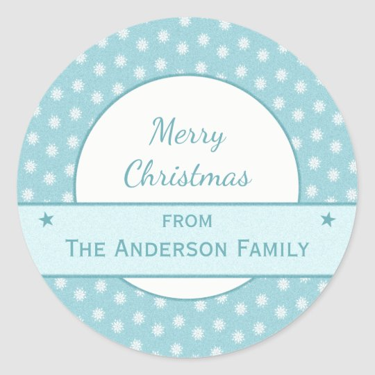 Personalised holiday blue Christmas Classic Round Sticker