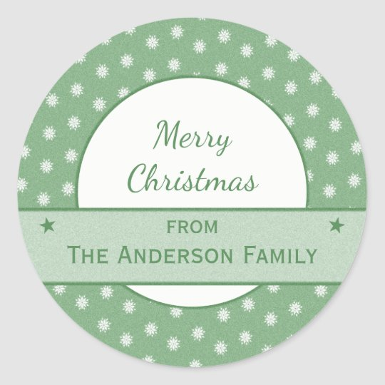 Personalised holiday green Christmas Classic Round Sticker