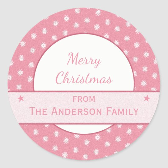 Personalised holiday pink Christmas Classic Round Sticker