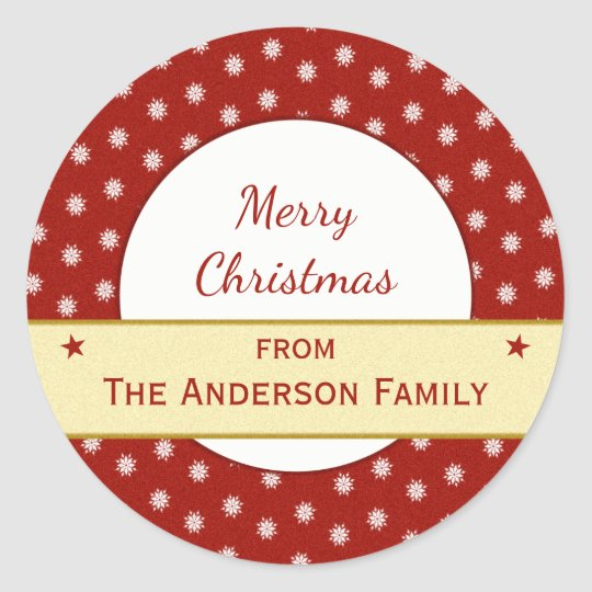 Personalised holiday red Christmas Classic Round Sticker