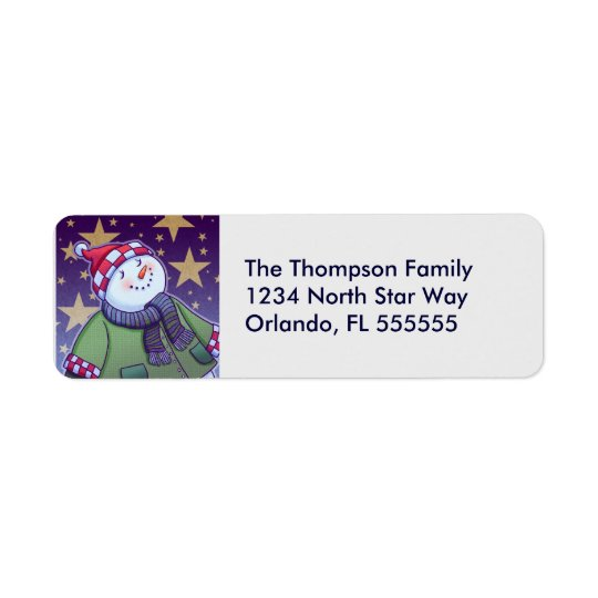 Personalised Holiday Snowman Return Address Labels