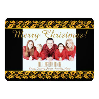 Personalised Holly Border Christmas Photo Card