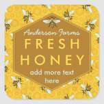 Personalised Honey Jar Label Bees and Honeycomb Square Sticker
