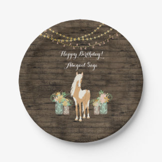 Personalised Horse, Flowers Rustic Wood Birthday Paper Plate