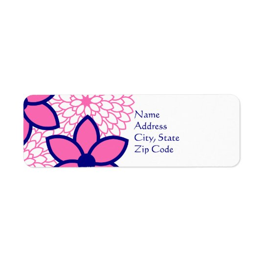 Personalised Hot Pink and Navy Blue Modern Floral Return Address Label